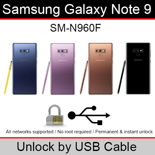 Details about Samsung Galaxy Note 9 (SM-N960F) USB Cable Unlock Software (1  Credit/1 Unlock)